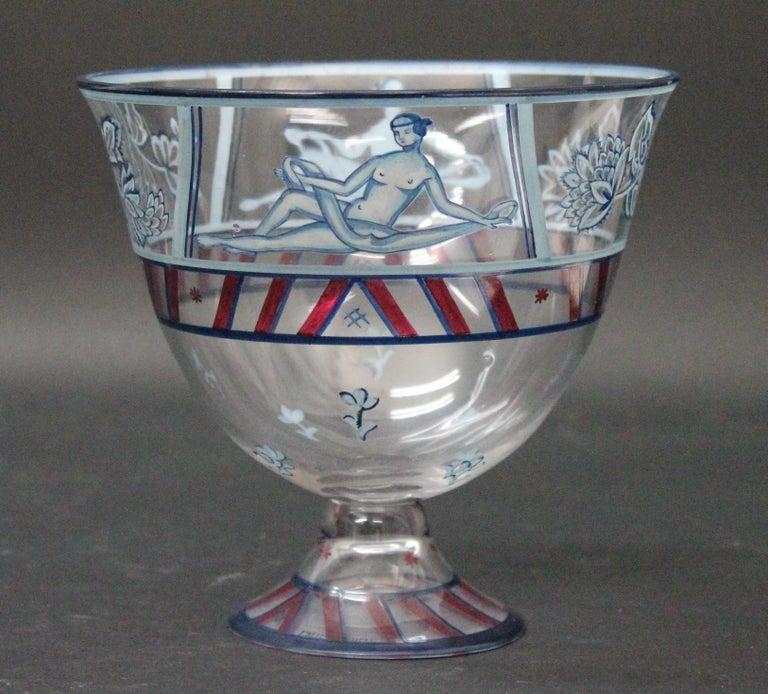 Enameled Josef Hoffmann/Vally Wieselthier/Wiener Werkstaette a Glass Centrepiece, 1917 For Sale
