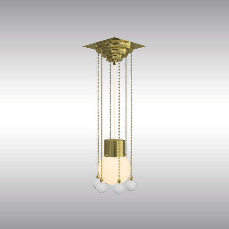 An elegant and delicate pendant designed by Josef Hoffmann All components according to the UL regulations, with an additional charge we will UL-list and label our fixtures.