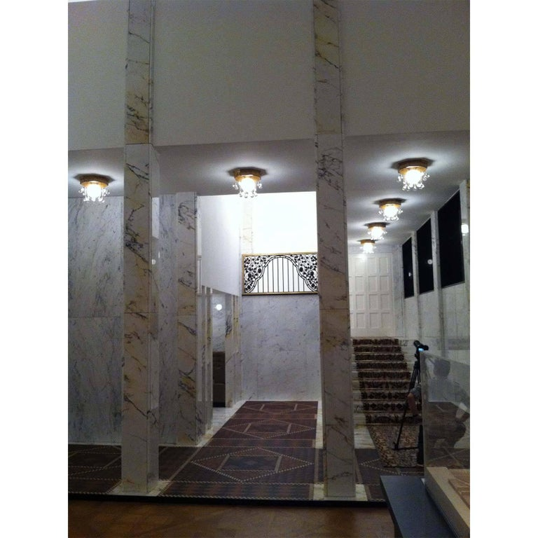 Austrian Josef Hoffmann Wiener Werkstätte - Stoclet Palais, Ceiling Lamp chased brass For Sale