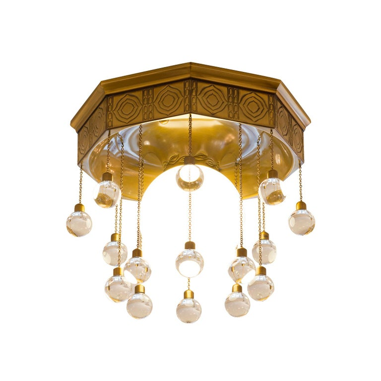 Hand-Crafted Josef Hoffmann Wiener Werkstätte - Stoclet Palais, Ceiling Lamp chased brass For Sale