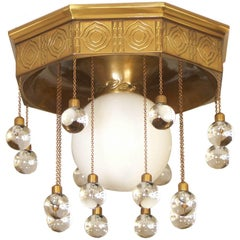 Josef Hoffmann,  Stoclet Palais, Ceiling Lamp chased brass, re-edition