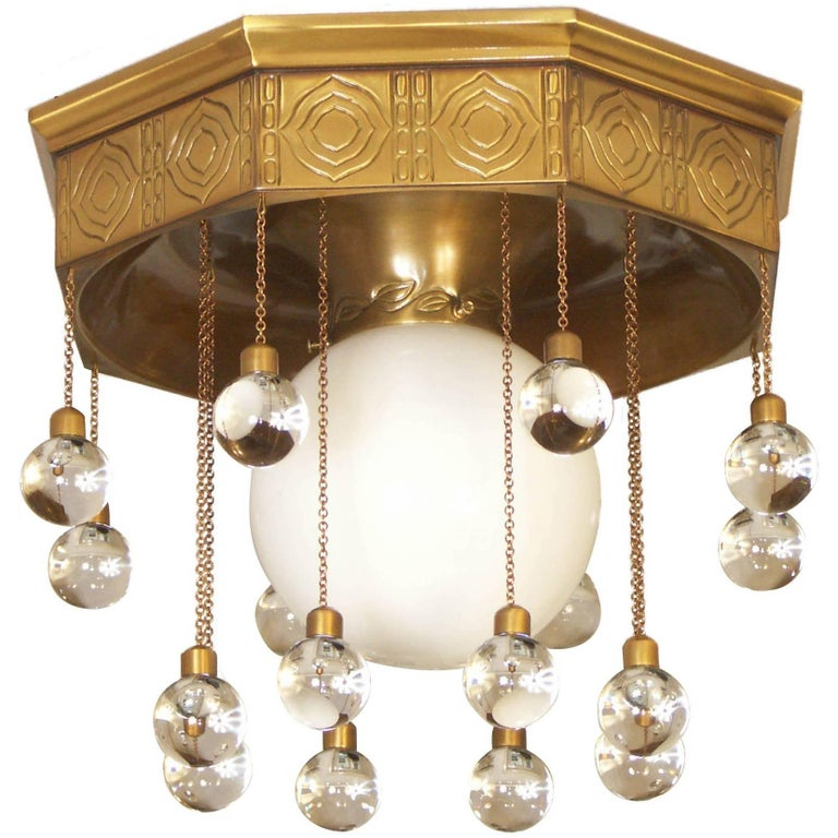Josef Hoffmann Wiener Werkstätte - Stoclet Palais, Ceiling Lamp chased brass For Sale