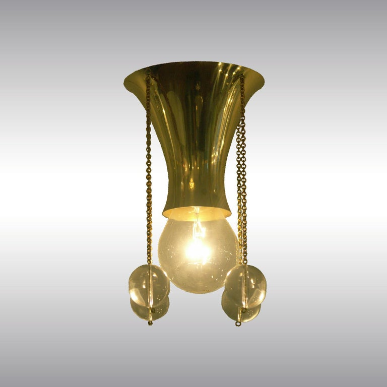 Brass Josef Hoffmann & Wiener Werkstätte Jugendstil Style by Woka Lamps For Sale