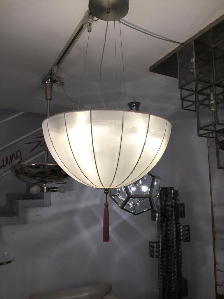 Austrian Josef Hoffmann & Wiener Werkstätte Silk and Brass Chandelier Re Edition For Sale