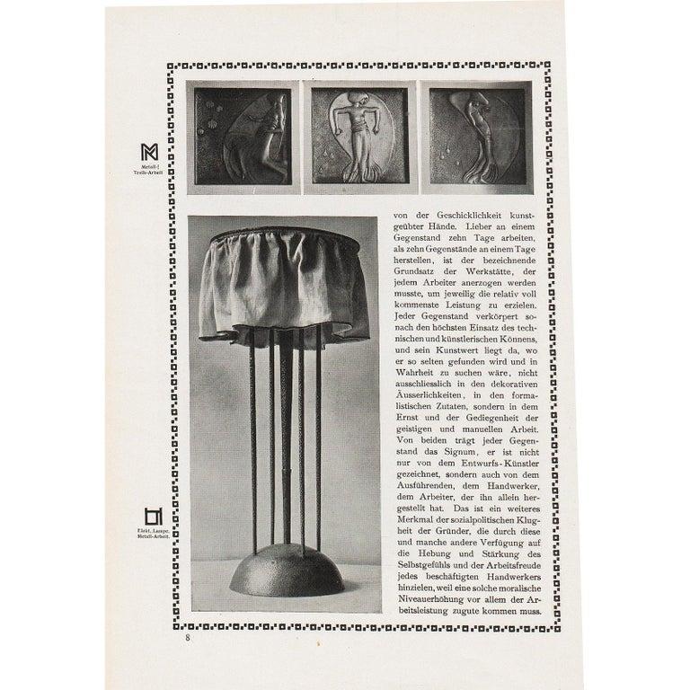Austrian Josef Hoffmann&Wiener Werkstätte Wittgenstein Silk&brass Table Lamp, Re-Edition For Sale