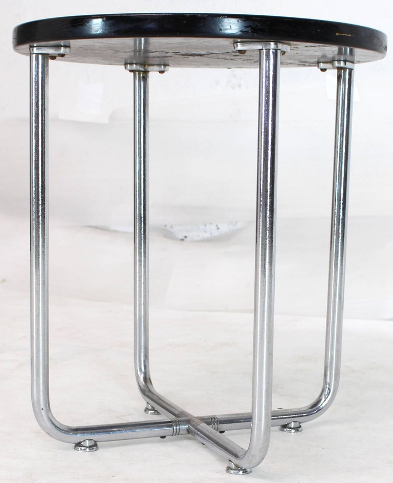 Chrome Josef Hofmann Art Deco Bauhaus Round Side Occasional Table Stand For Sale