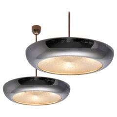 Josef Hurka for Napako Pair of Pendant Ceiling Lamps in Chrome