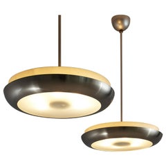 Josef Hurka for Napako Round Pendant Lamp in Silver