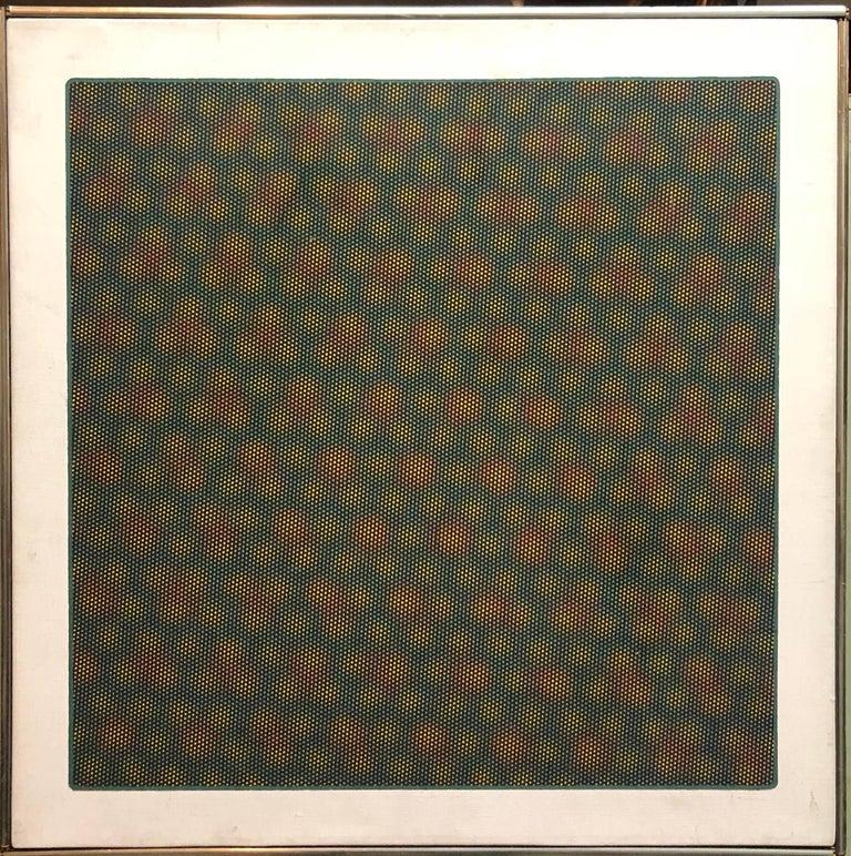 Op Art 1971 Kinetic Oil Painting Pop Art Artist - Beige Abstract Painting by Josef Levi