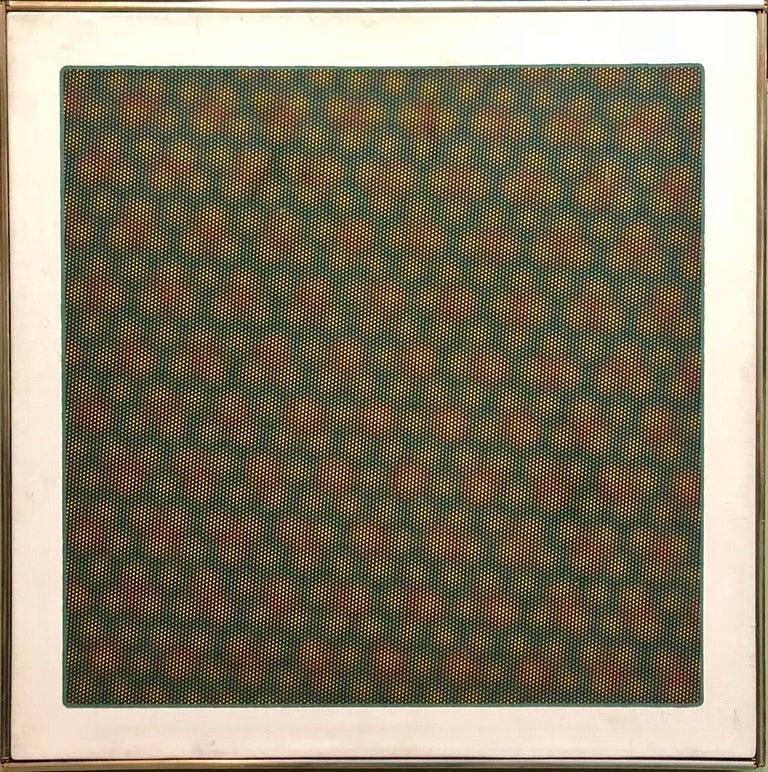 Josef Levi Abstract Painting - Op Art 1971 Kinetic Oil Painting Pop Art Artist