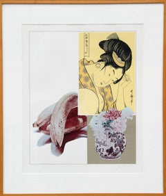 Utamaro and Banana, POP Art Silkscreen by Josef Levi