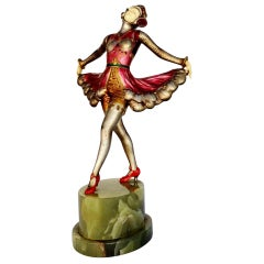 Josef Lorenzl Style Spelter and Onyx Dancer Style Statue