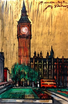 London, Big Ben Cityscape Mid Century Architectural Modernist Gold Leaf