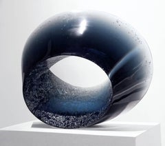 Skyfall II - Glass sculpture by Czech sculptor Josef Marek in graduated blue