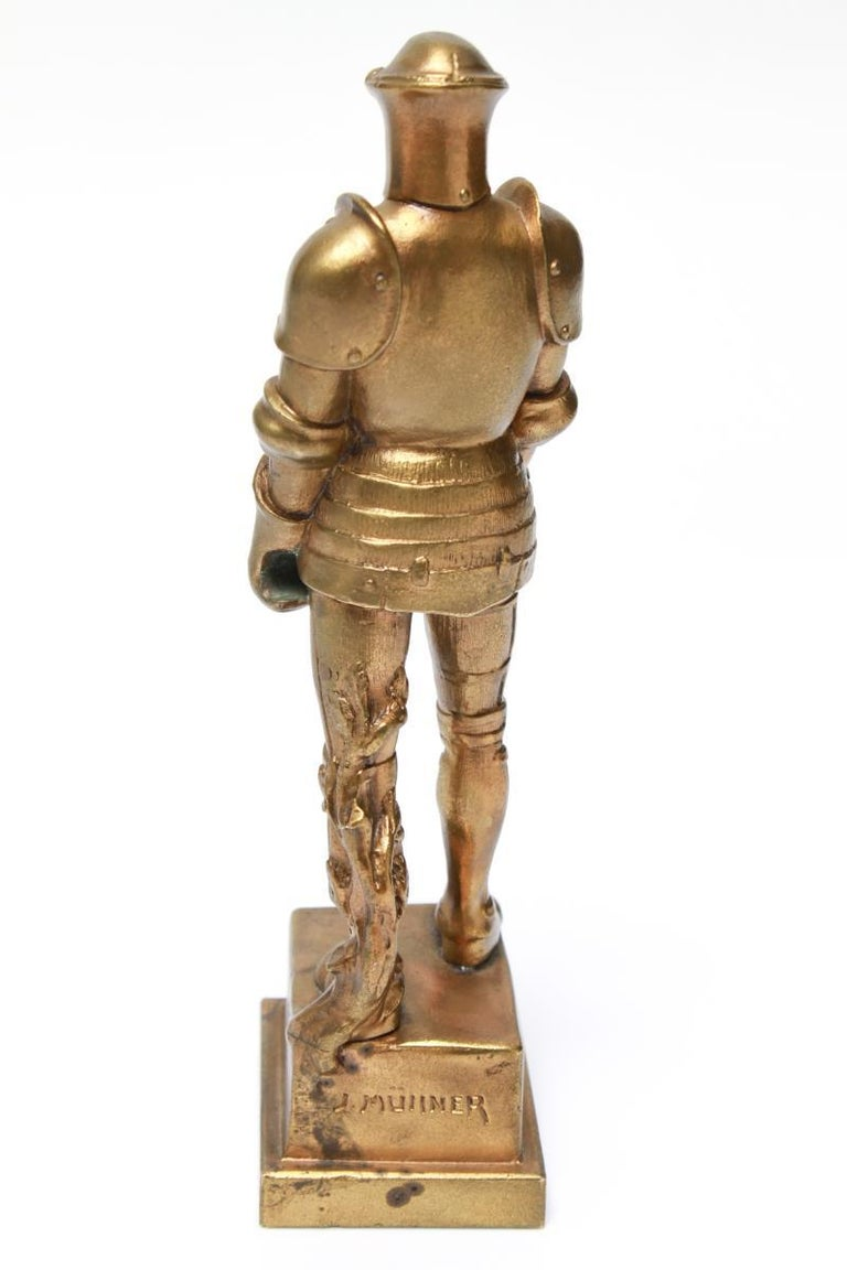 Neoclassical Josef Muellner WWI Militaria Cast Iron Figure of a Knight in Armor For Sale