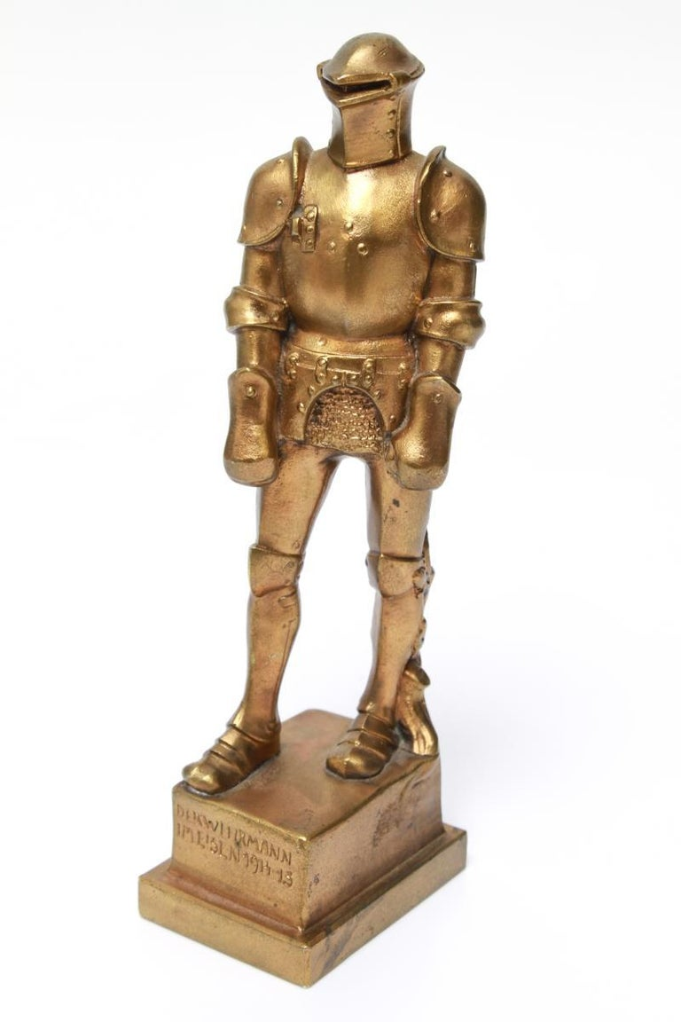 Bronzed Josef Muellner WWI Militaria Cast Iron Figure of a Knight in Armor For Sale