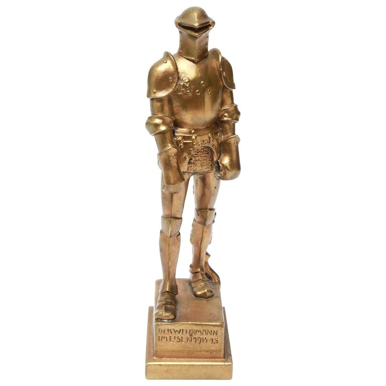 Josef Muellner WWI Militaria Cast Iron Figure of a Knight in Armor For Sale
