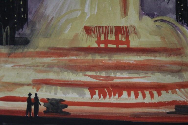 Josef Pierre Nuyttens (American, 1855-1960), moody watercolor of Chicago's Buckingham Fountain.
