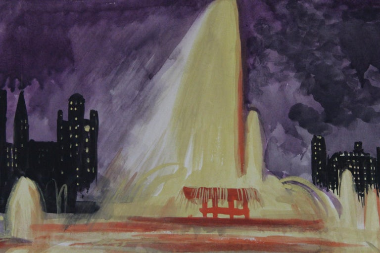 Josef Pierre Nuyttens, Buckingham Fountain Chicago Watercolor In Good Condition For Sale In Geneva, IL