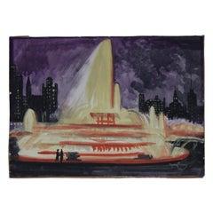 Josef Pierre Nuyttens, Buckingham Fountain Chicago Watercolor