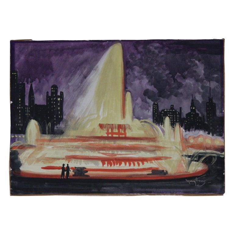 Josef Pierre Nuyttens, Buckingham Fountain Chicago Watercolor For Sale