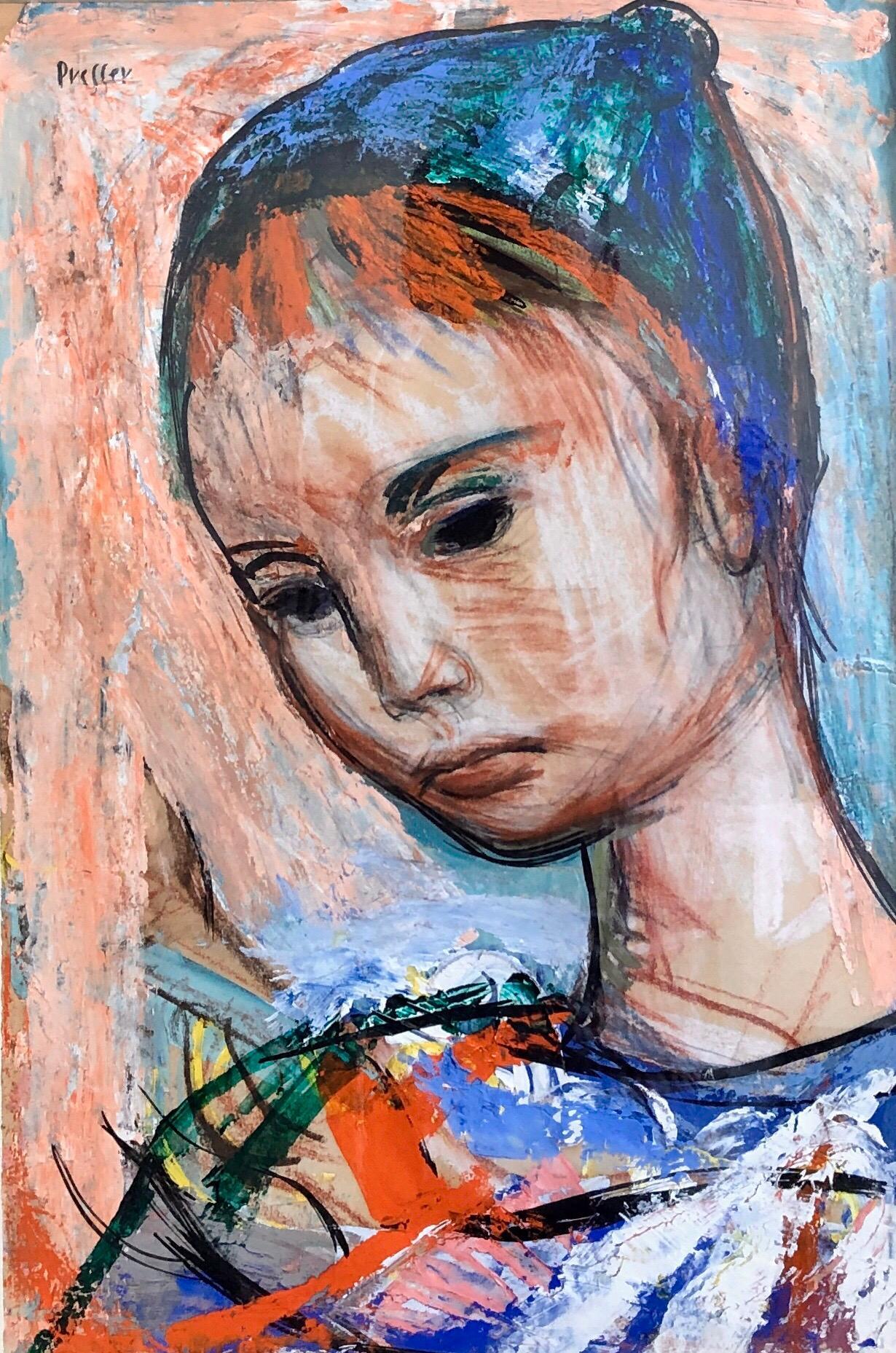Polish Born Boston Expressionist Oil Painting WPA Artist Colorful Modern Woman