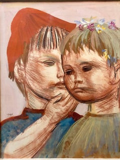 Polish Expressionist Profile Portrait Drawing TWO CHILDREN