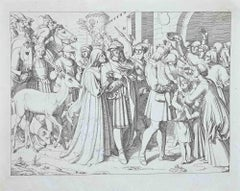 Scene from The Life and Death of Saint Genoveva - Original Etching - 1830s