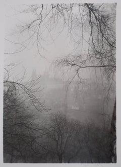 Prague Castle in the Fog - Original Hand Signed Gelatin Silver Photograph, 1972