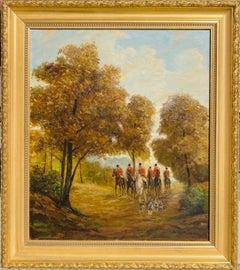 Large German oil painting - hunting scene landscape - hunt hunters - ca. 1930s