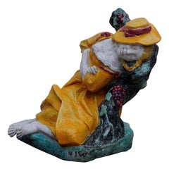Josef Wackerle for Nympfenburg Lifesize Porcelain Figure Sleeping Shepherdess
