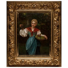 Josef Wilhelm Suhs oil on canvas Hungarian woman with grapes