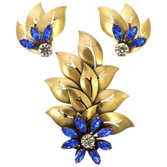 Joseff of Hollywood 1950s Blue and Clear Crystal Brooch and Clip On Earrings Set