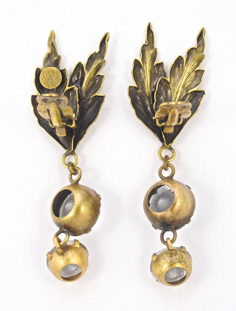 Joseff of Hollywood 1950s Gold Plated Clear Crystal Brooch and Clip On Earrings For Sale 7