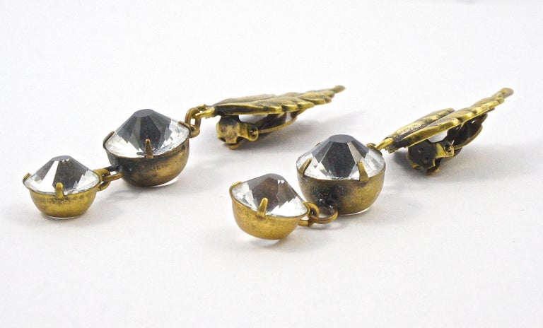 Joseff of Hollywood 1950s Gold Plated Clear Crystal Brooch and Clip On Earrings For Sale 8