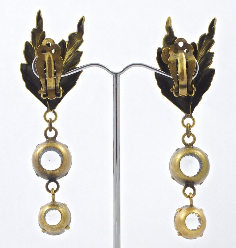 Joseff of Hollywood 1950s Gold Plated Clear Crystal Brooch and Clip On Earrings For Sale 11
