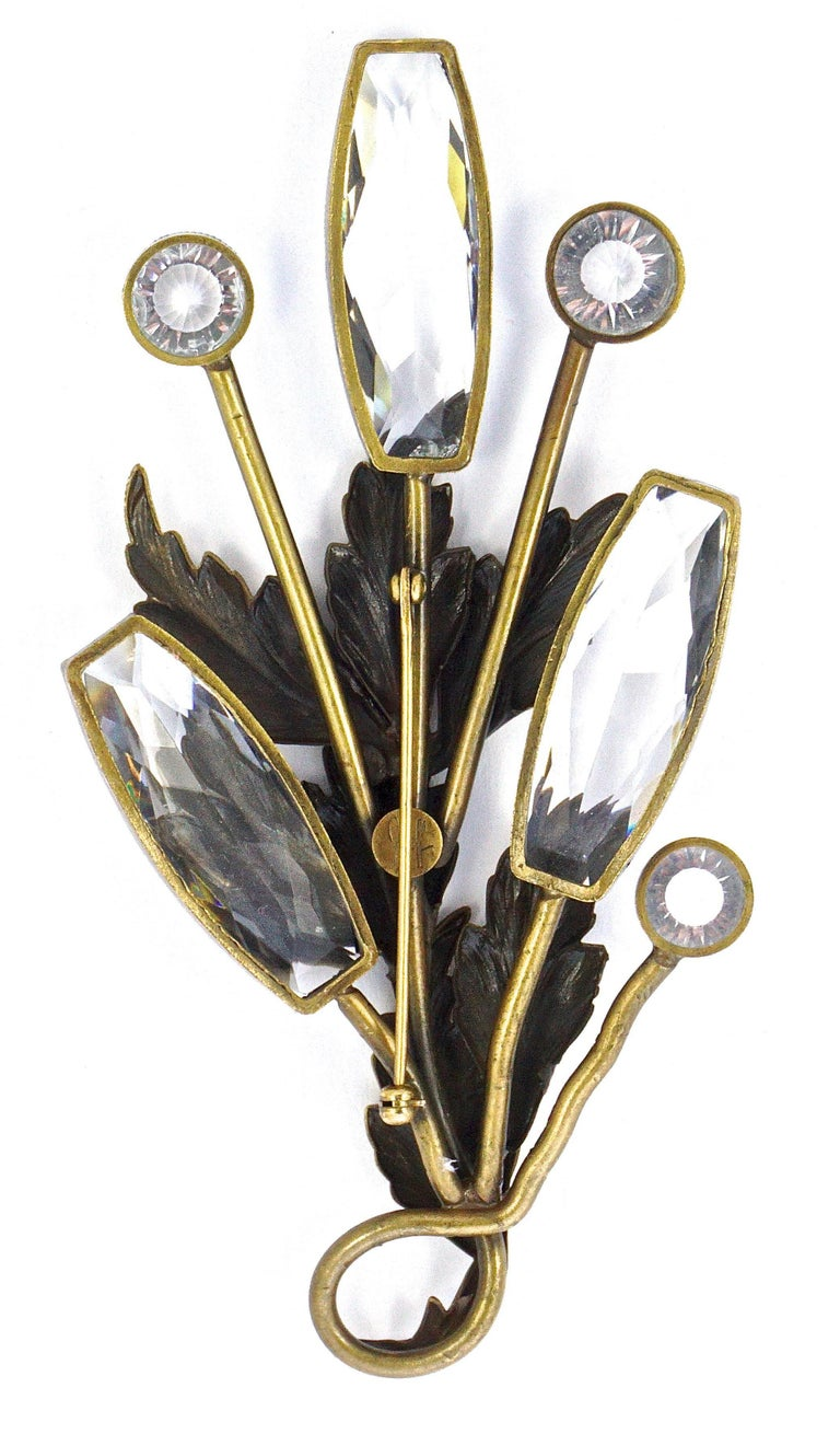Joseff of Hollywood 1950s Gold Plated Clear Crystal Brooch and Clip On Earrings For Sale 1