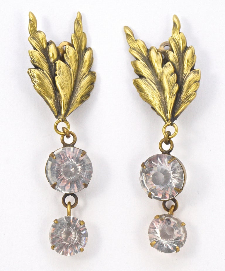 Joseff of Hollywood 1950s Gold Plated Clear Crystal Brooch and Clip On Earrings For Sale 5