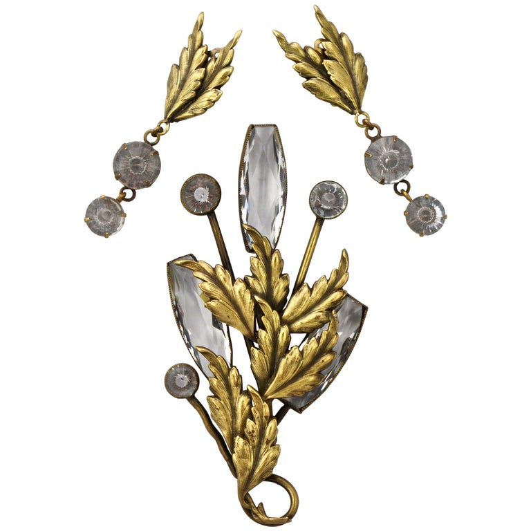 Joseff of Hollywood 1950s Gold Plated Clear Crystal Brooch and Clip On Earrings For Sale