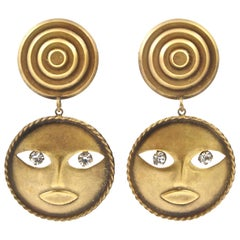 Joseff of Hollywood Moon God Clip On Drop Earrings with Crystal Dangly Eyes