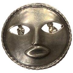 Joseff of Hollywood Silvered Moon Brooch pin