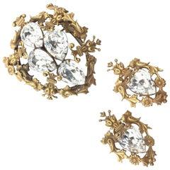 Joseff Of Hollywood Vintage Brooch Earrings Crystal 1940s