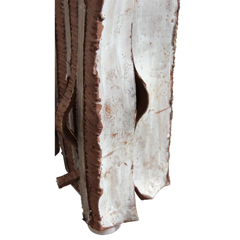Minimalist Distressed Glazed Red Ceramic Flag Box Sculpture with White Accents For Sale 3