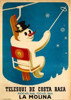 Original Vintage Skiing Poster La Molina Telesqui De Costa Rasa Snowman Spain