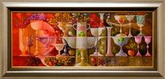 """Josep Baques """"Bodgeon con Cristal de Murano """" 15 x 39 in Mixed Media on Canvas"""