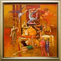 """Josep Baques """"Escenes de Circ I"""" 39 x 39 in Mixed Media on Board"""
