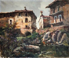 Spanish rural town landscape oil on canvas painting