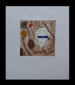Ocres original engraving abstract painting