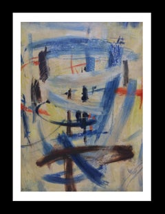 """COMPOSICION"" - original abstract oil canvas  1989 painting"