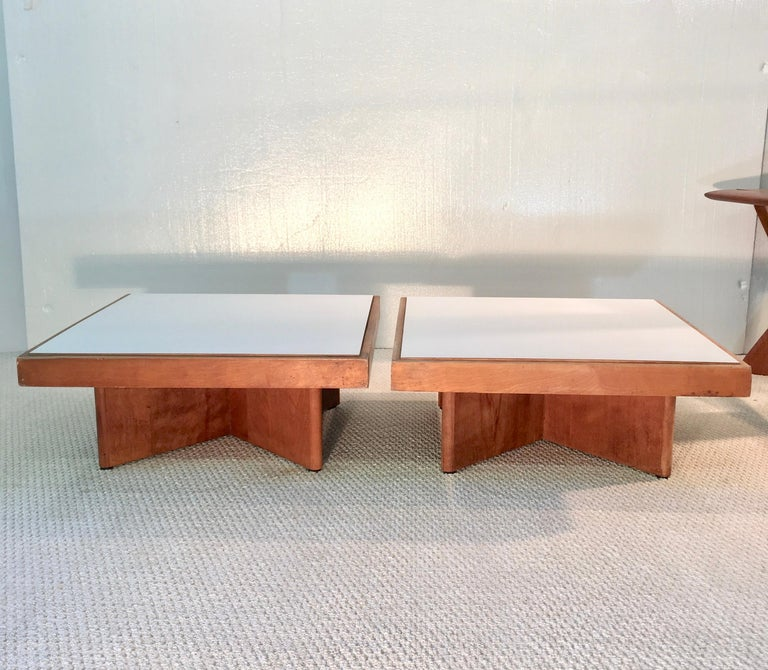 Pair of original tables designed by Catalan architect Josep Lluis Sert for his Center for the Study of World Religions building at Harvard Divinity School, 1959. J. L. Sert was a Spanish architect and city planner born in Barcelona, Spain to a